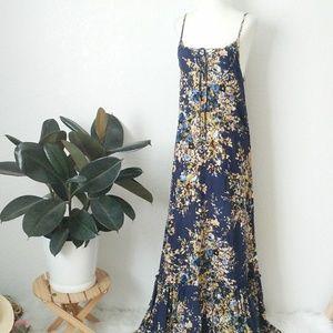 Lovestitch Lace Up Boho Floral Maxi Sundress Sm